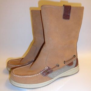 SPERRY TOP-SIDER Tan Suede Moccasin Pull On Boots